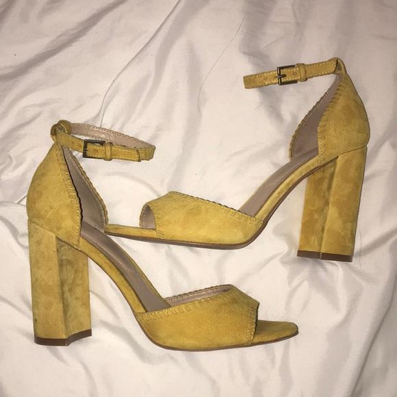ce932ed2102 Nice ALDO Suede Mustard Yellow Chunky Heels